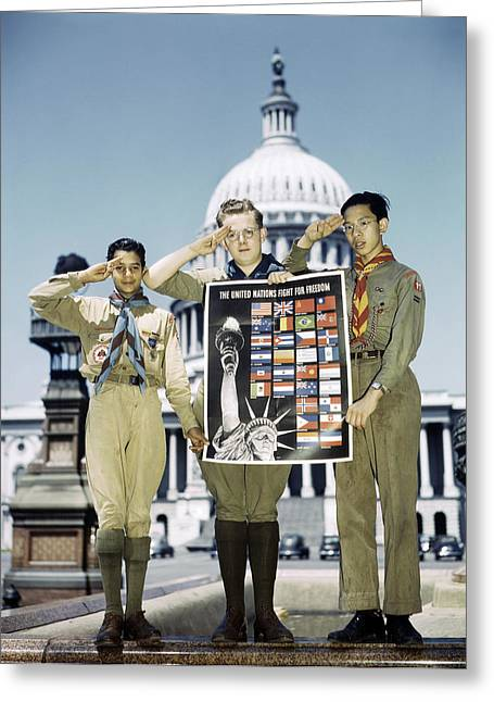 Boy Scouts, 1943 Greeting Card by Granger