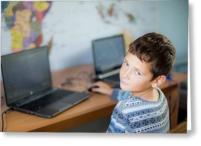 Boy Using Laptop Greeting Card