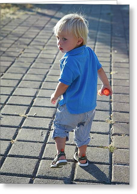 Boy Walking On Path Greeting Card