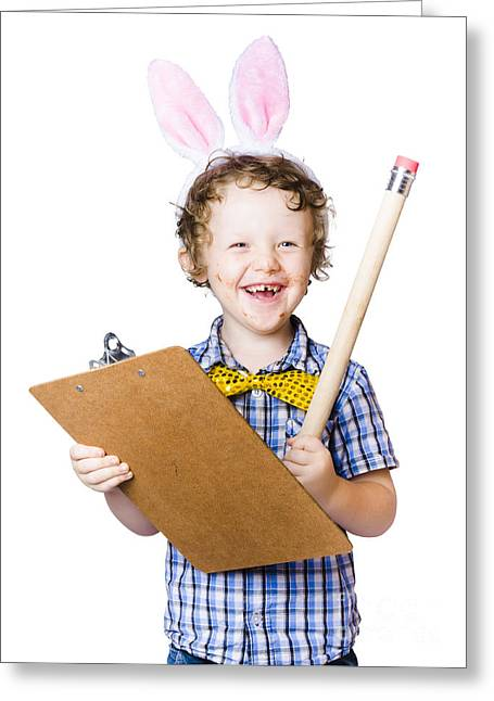 Boy Writing Easter List Greeting Card by Jorgo Photography - Wall Art Gallery