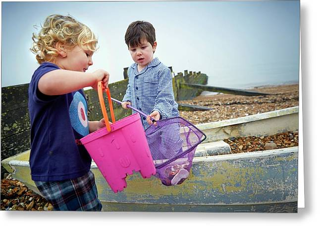 Boys Playing On Beach Greeting Card by Ruth Jenkinson