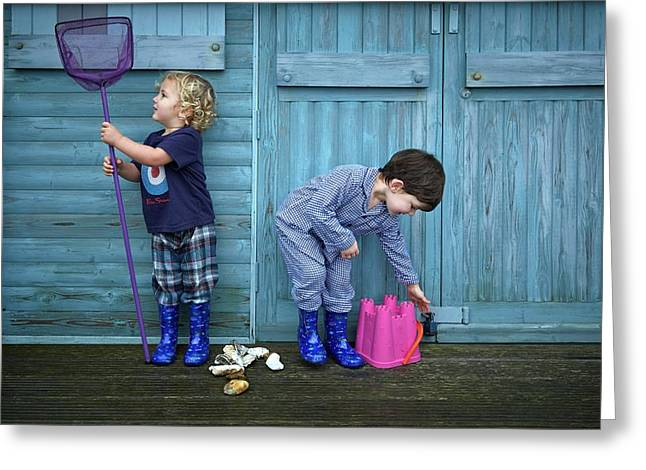 Boys Playing With Fishing Net And Bucket Greeting Card by Ruth Jenkinson