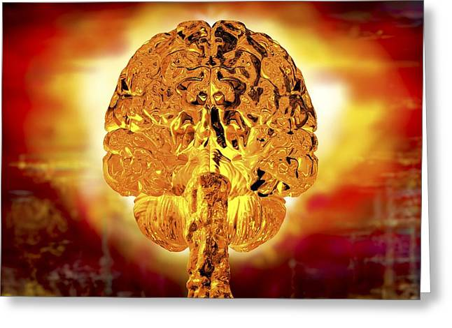 Brain As Atomic Bomb Greeting Card