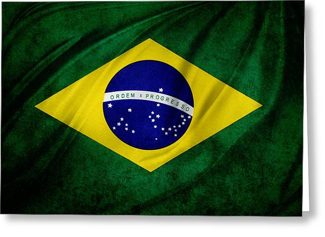 Brazilian Flag Greeting Card by Les Cunliffe