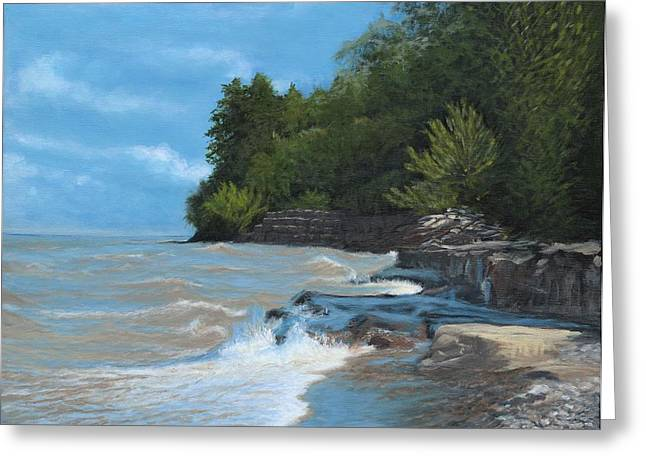Breakwall On The Shore Of Lake Ontario Greeting Card by Ken Messinger-Rapport
