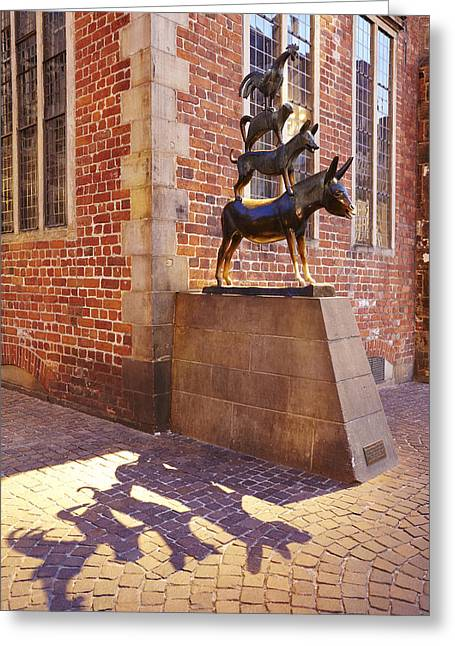 Bremen - The Town Musicians Of Bremen In The Evening Greeting Card