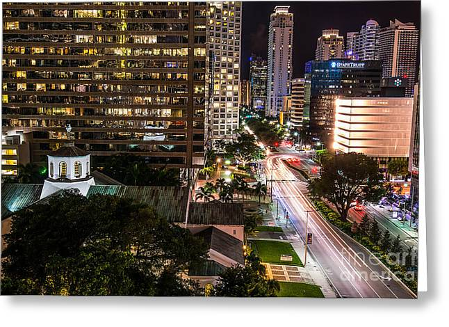 Brickell Ave Downtown Miami  Greeting Card by Michael Moriarty