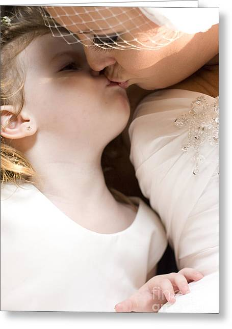 Bride Kissing Her Daughter Greeting Card