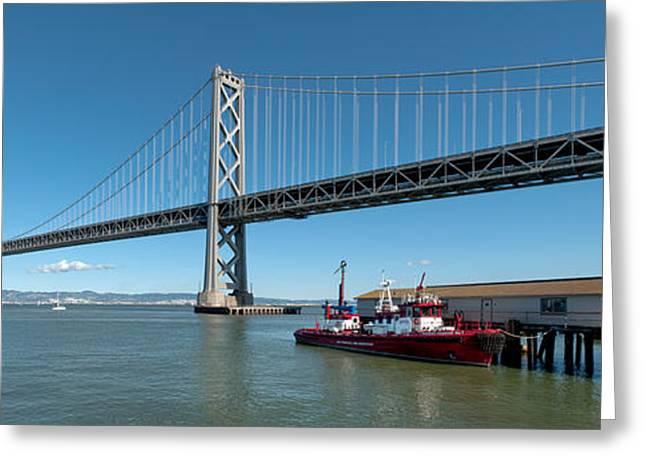 Bridge Across A Bay, Bay Bridge, San Greeting Card