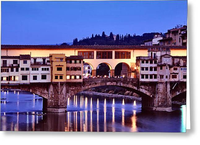 Bridge Across A River, Arno River Greeting Card by Panoramic Images