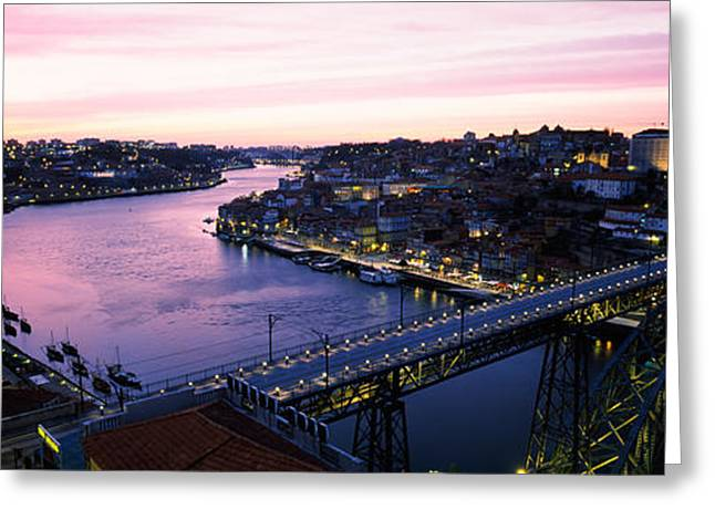 Bridge Across A River, Dom Luis I Greeting Card by Panoramic Images