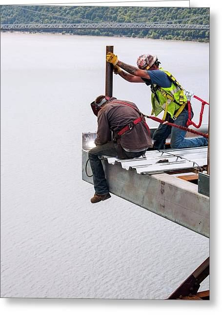 Bridge Lift Construction Workers Greeting Card