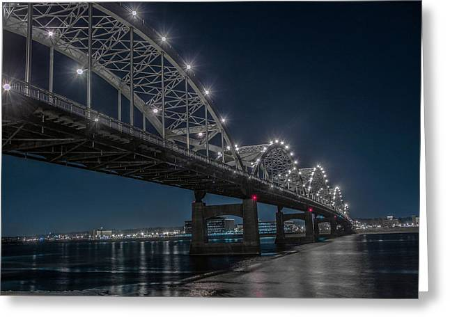 Bridge Lights Greeting Card by Ray Congrove