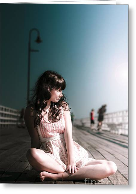 Bridge Woman Greeting Card by Jorgo Photography - Wall Art Gallery