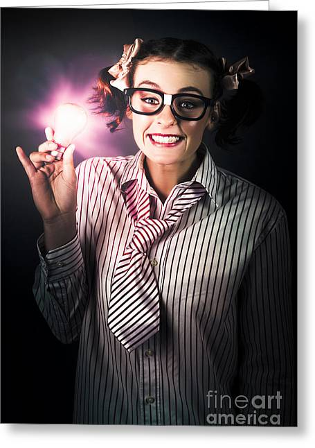 Bright And Nerdy Business Woman With Smart Idea Greeting Card by Jorgo Photography - Wall Art Gallery