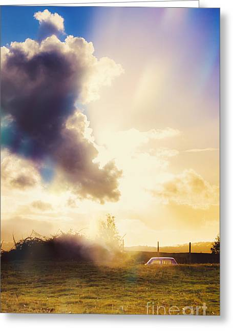 Bright Australian Rural Farm Field Taken Sundown Greeting Card by Jorgo Photography - Wall Art Gallery