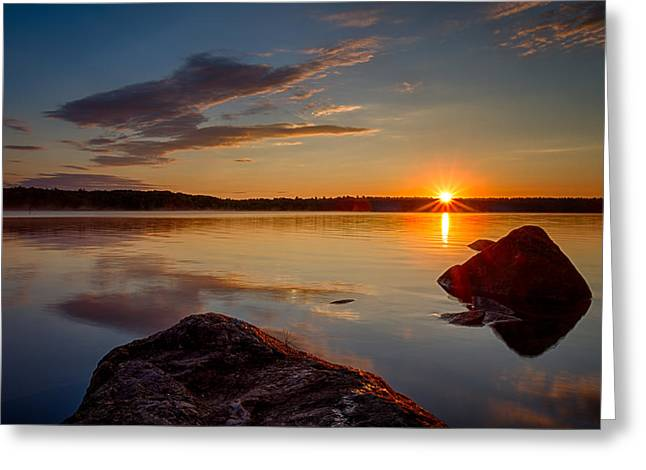 Brilliant Sunrise Baxter Lake Nh Greeting Card by Jeff Sinon
