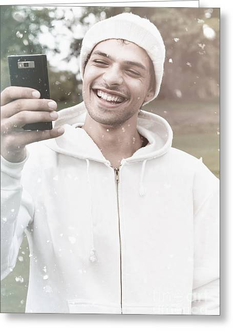 British Man On Smartphone Call In Winter Snow Greeting Card by Jorgo Photography - Wall Art Gallery