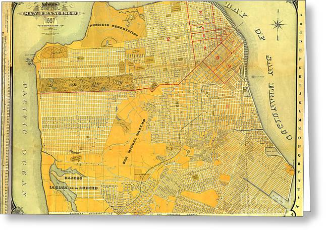 Britton And Reys Guide Map Of The City Of San Francisco. 1887. Greeting Card
