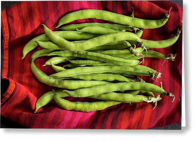 Broad Beans On A Red Cloth Greeting Card