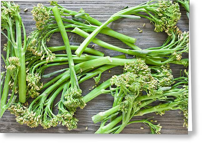 Broccoli Stems Greeting Card by Tom Gowanlock