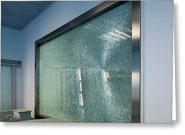 Broken Tempered Glass Window Greeting Card by Pan Xunbin