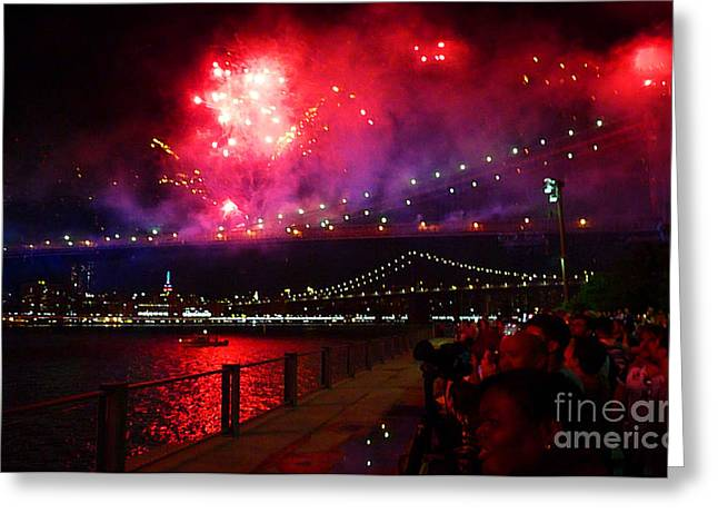 Brooklyn Bridge Fireworks Greeting Card
