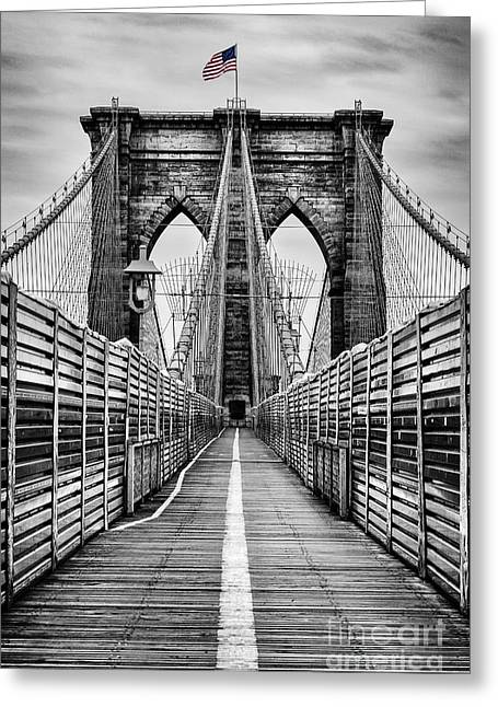 Brooklyn Bridge Greeting Card by John Farnan