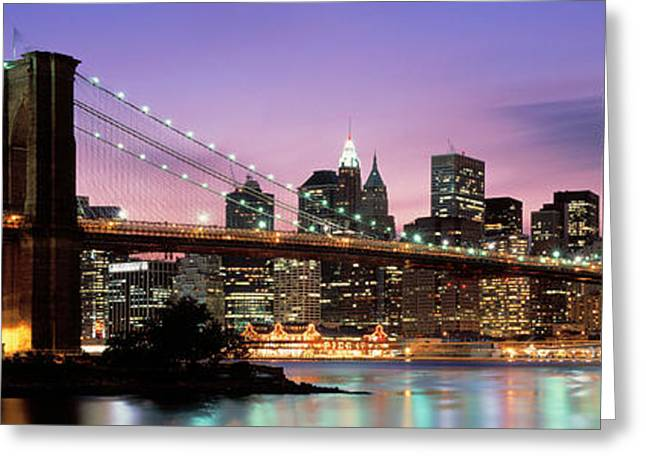 Brooklyn Bridge New York Ny Usa Greeting Card by Panoramic Images