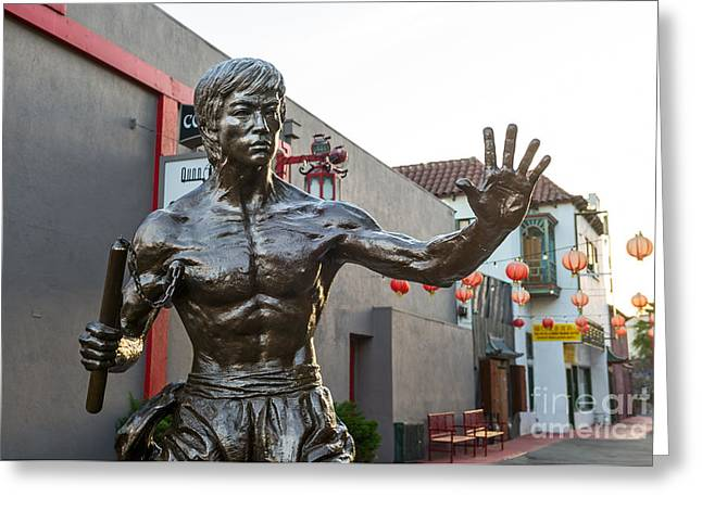 Bruce Lee Statue In Chinatown. Greeting Card by Jamie Pham