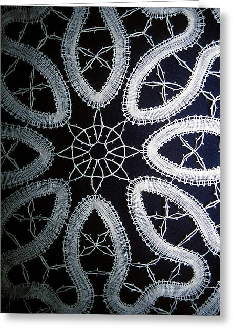 Bruges Belgium Detail Of Hand Made Lace Greeting Card