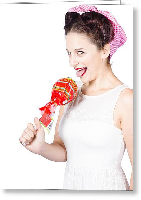 Brunette Pin Up Woman Licking Wrapped Lollipop Greeting Card by Jorgo Photography - Wall Art Gallery