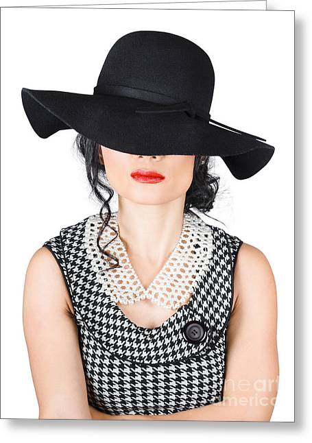 Brunette Woman In Chic Pearl Jewelry. Fashion Hats Greeting Card by Jorgo Photography - Wall Art Gallery
