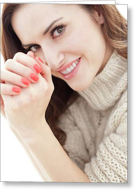 Brunette Woman Smiling Greeting Card by Ian Hooton