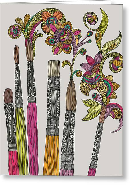 Brushes Greeting Card by Valentina