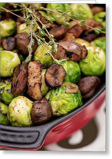 Brussels Sprouts In Dish Greeting Card