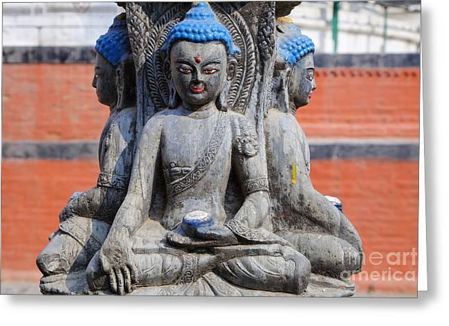 Buddha Figure In Kathmandu Nepal Greeting Card by Robert Preston