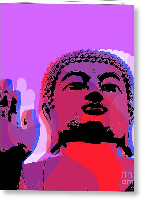 Greeting Card featuring the digital art Buddha Pop Art - Warhol Style by Jean luc Comperat