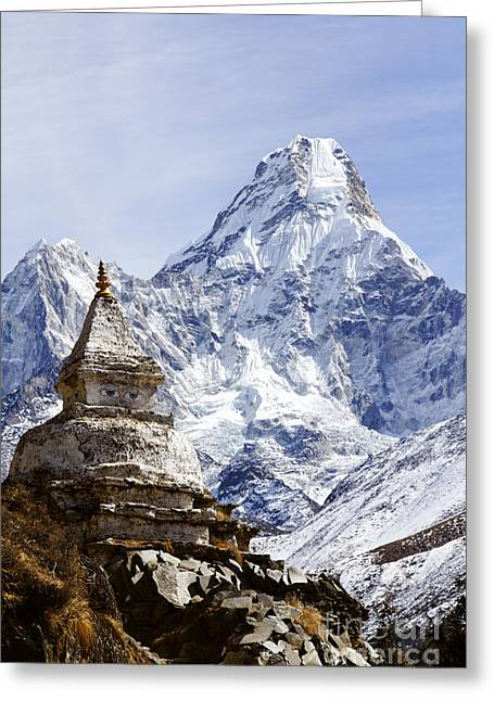 Buddhist Stupa And Ama Dablam Mountain In The Everest Region Of Nepal Greeting Card