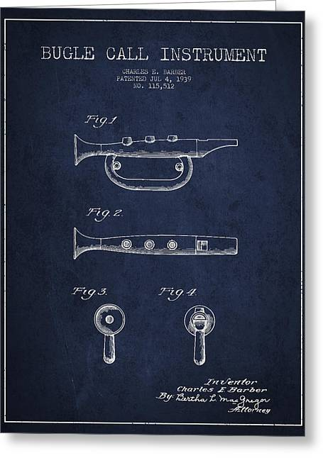 Bugle Call Instrument Patent Drawing From 1939 - Navy Blue Greeting Card by Aged Pixel