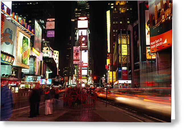 Buildings In A City, Broadway, Times Greeting Card by Panoramic Images