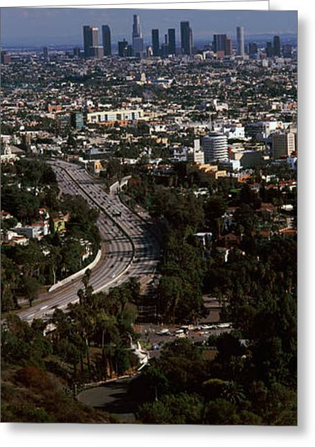 Buildings In A City, Hollywood, City Of Greeting Card by Panoramic Images