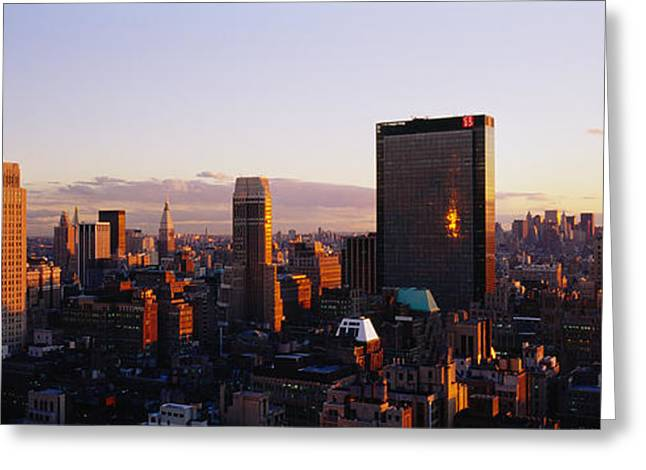 Buildings In A City, Manhattan, New Greeting Card by Panoramic Images