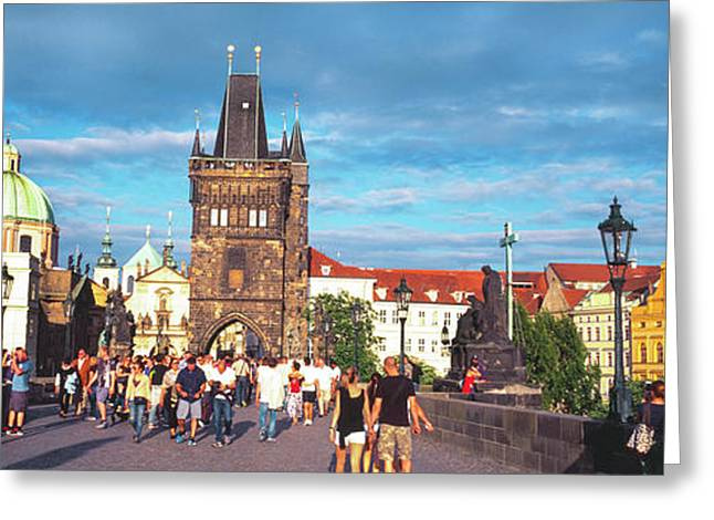 Buildings In A City, Prague, Czech Greeting Card