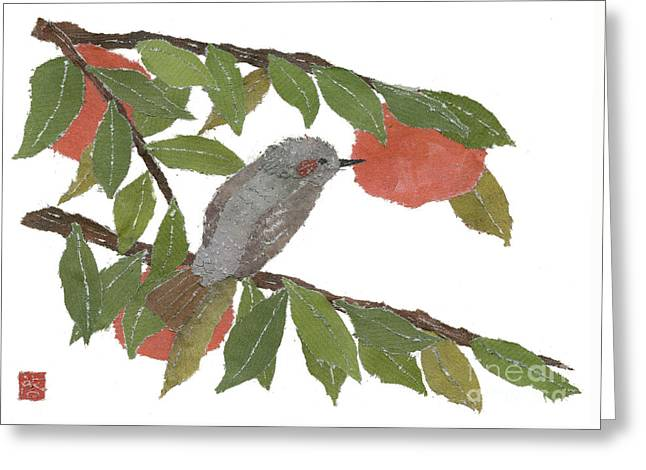Bulbul And Persimmon  Greeting Card by Keiko Suzuki
