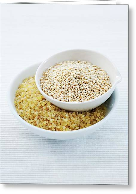 Bulgur Wheat And Quinoa Seeds Greeting Card by Gustoimages