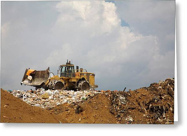 Bulldozer On A Landfill Site Greeting Card