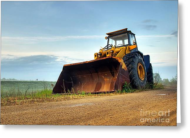 Bulldozer Greeting Card by Sinisa Botas