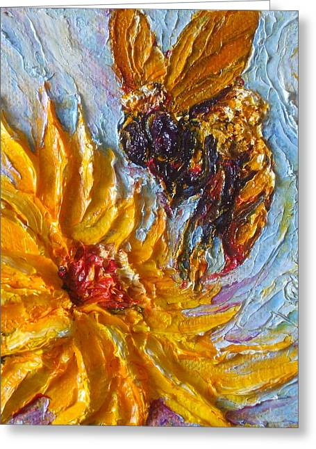 Bumble Bee And Yellow Flower Greeting Card by Paris Wyatt Llanso