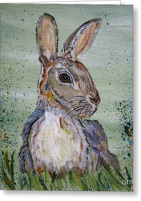 Bunny Rabbit Greeting Card by Ella Kaye Dickey